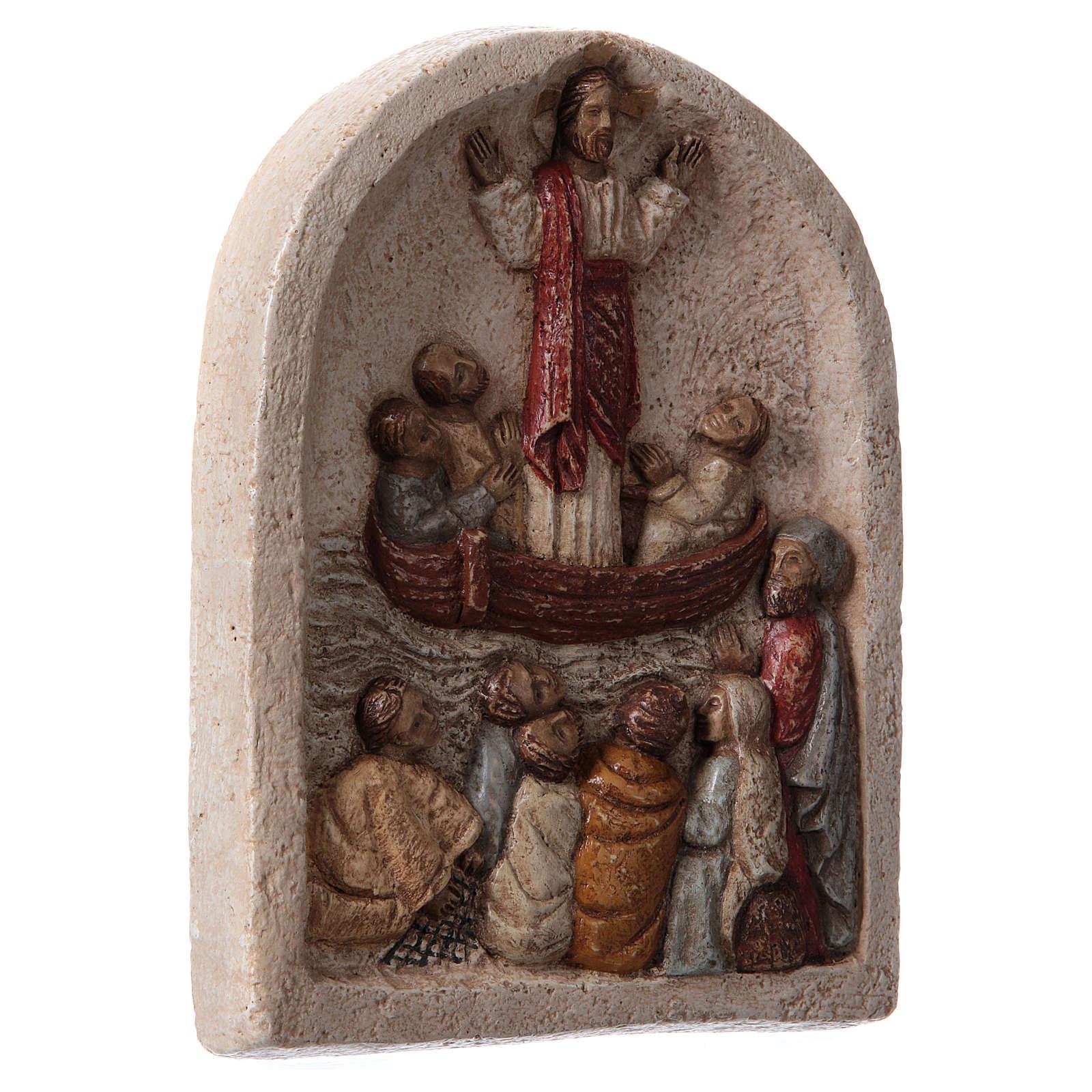 Bajorrelieve Predicación de Jesús en el barco con los discípulos 20x15 cm 4