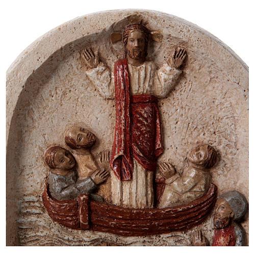 Bassorilievo Predicazione di Gesù sulla barca coi discepoli 20x15 cm 2