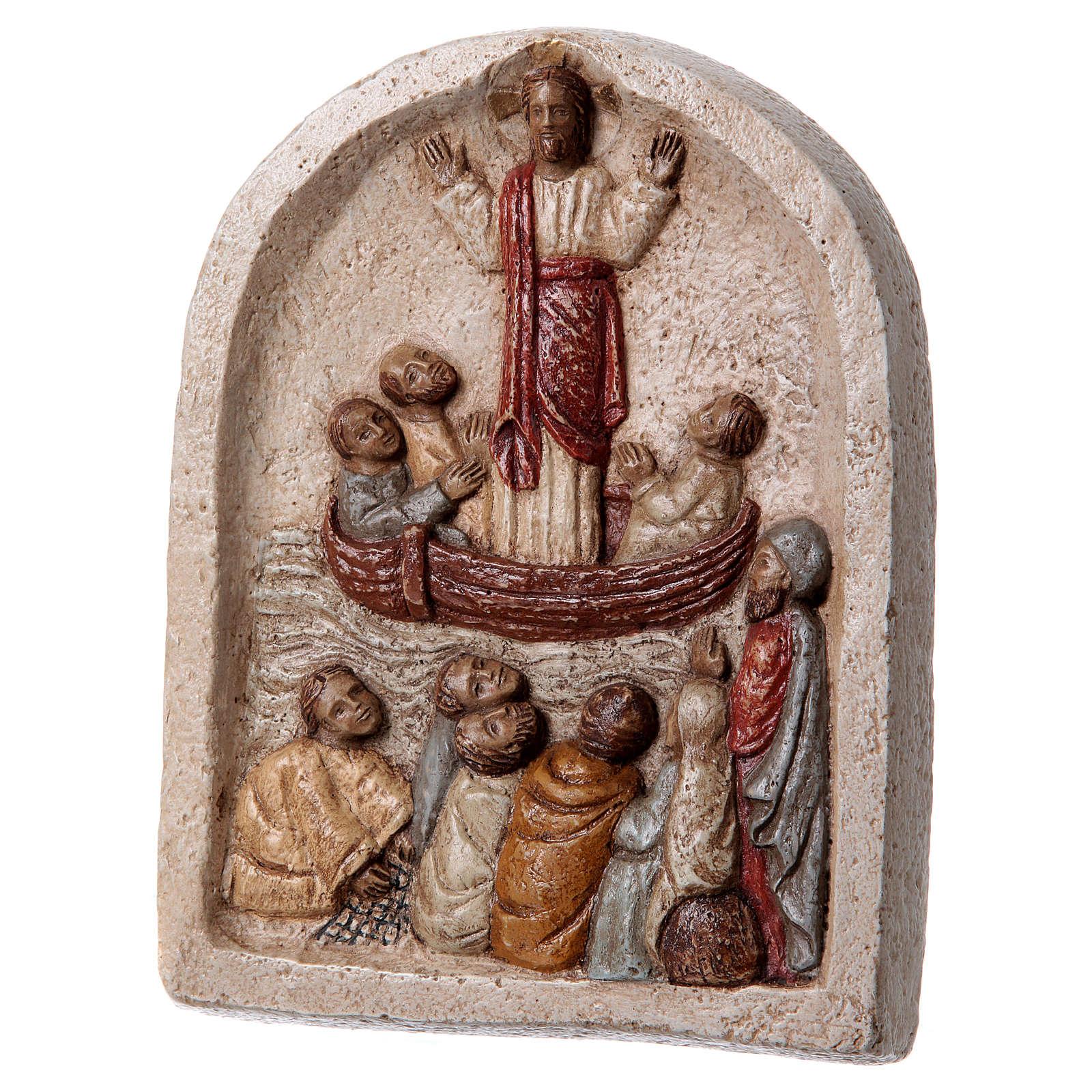 Baixo-relevo Pregação de Jesus no barco com discípulos 20x15 cm 4