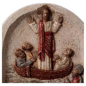 Baixo-relevo Pregação de Jesus no barco com discípulos 20x15 cm s2