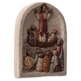 Baixo-relevo Pregação de Jesus no barco com discípulos 20x15 cm s4