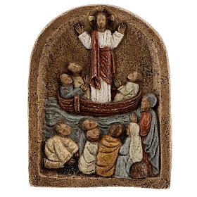 Baixo-relevo Pregação de Jesus no barco com discípulos 20x15 cm s6