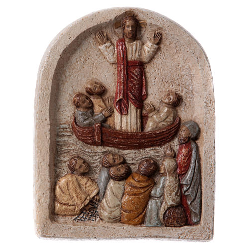 Baixo-relevo Pregação de Jesus no barco com discípulos 20x15 cm 1