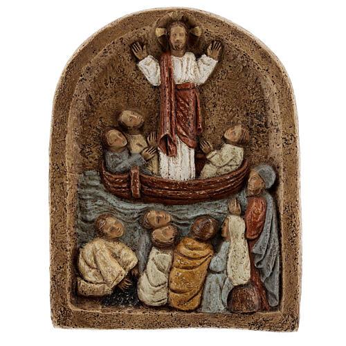 Baixo-relevo Pregação de Jesus no barco com discípulos 20x15 cm 6