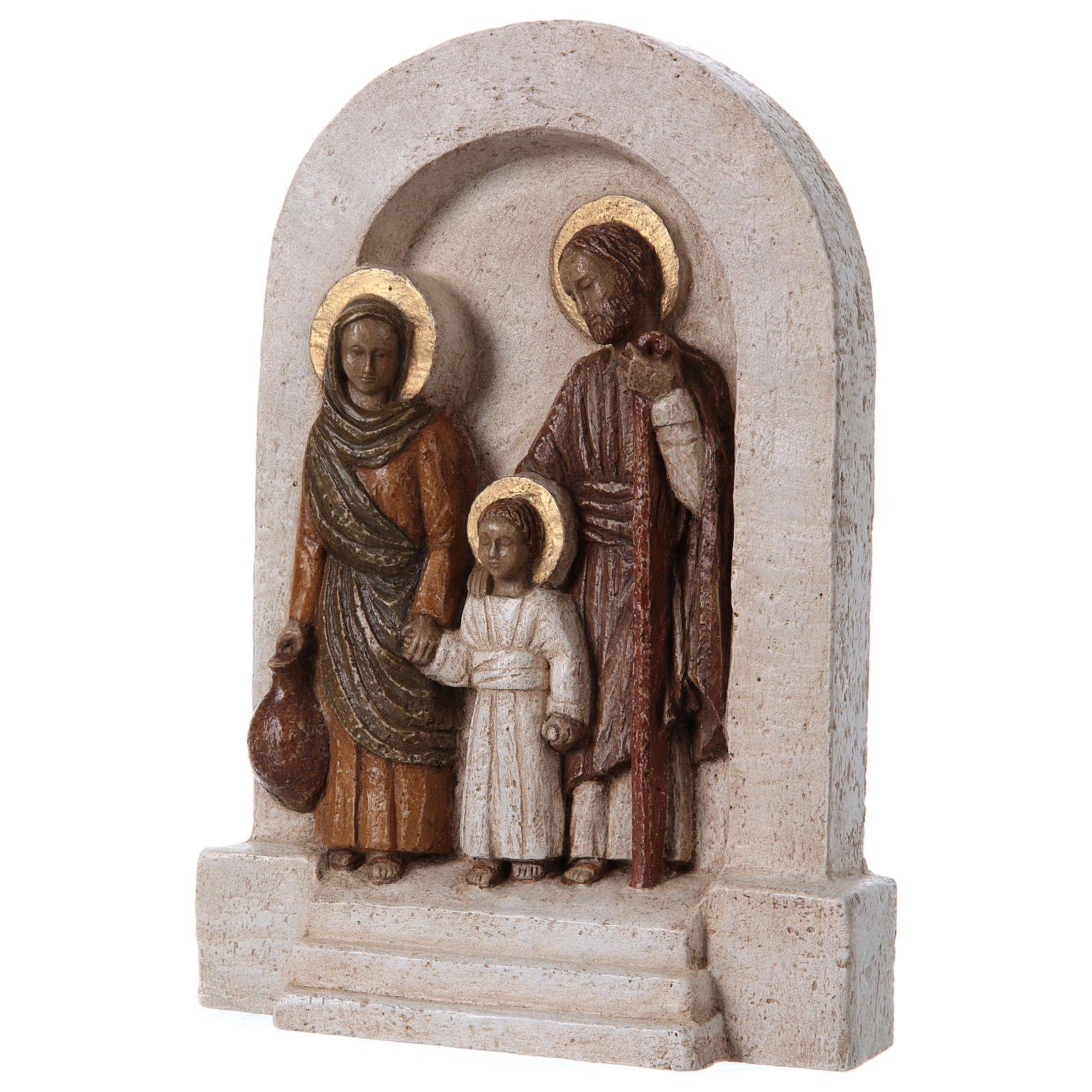Bassorilievo in pietra Sacra Famiglia 30x20 cm 4