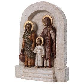 Bassorilievo in pietra Sacra Famiglia 30x20 cm s3