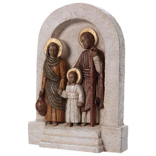 Bassorilievo in pietra Sacra Famiglia 30x20 cm 3