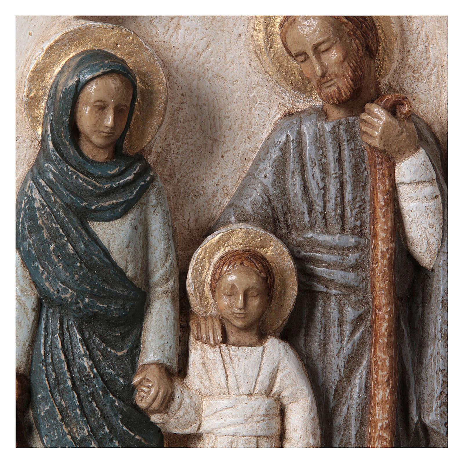 Bassorilievo in pietra Sacra Famiglia vesti azzurre 30x20 cm 4