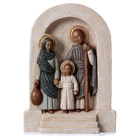 Bassorilievo in pietra Sacra Famiglia vesti azzurre 30x20 cm s1