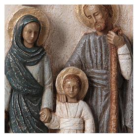 Bassorilievo in pietra Sacra Famiglia vesti azzurre 30x20 cm s2