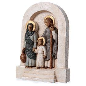 Bassorilievo in pietra Sacra Famiglia vesti azzurre 30x20 cm s3