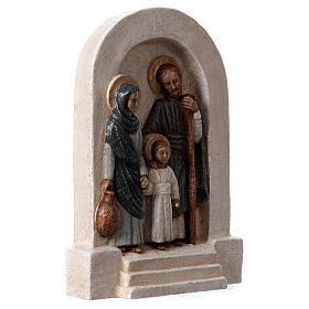 Bassorilievo in pietra Sacra Famiglia vesti azzurre 30x20 cm s4