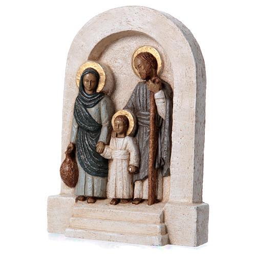 Bassorilievo in pietra Sacra Famiglia vesti azzurre 30x20 cm 3