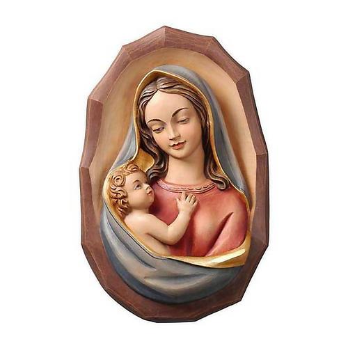 Bassorilievo legno Valgardena Madonna con bambino 1