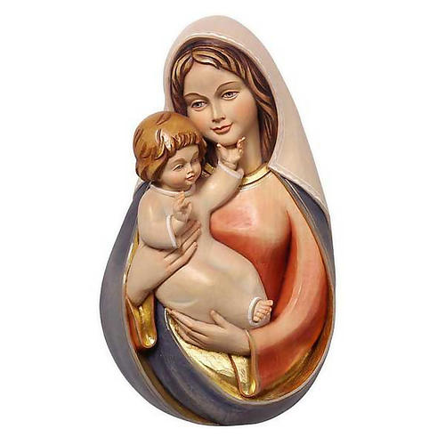Bassorilievo legno Madonna con bimbo 1