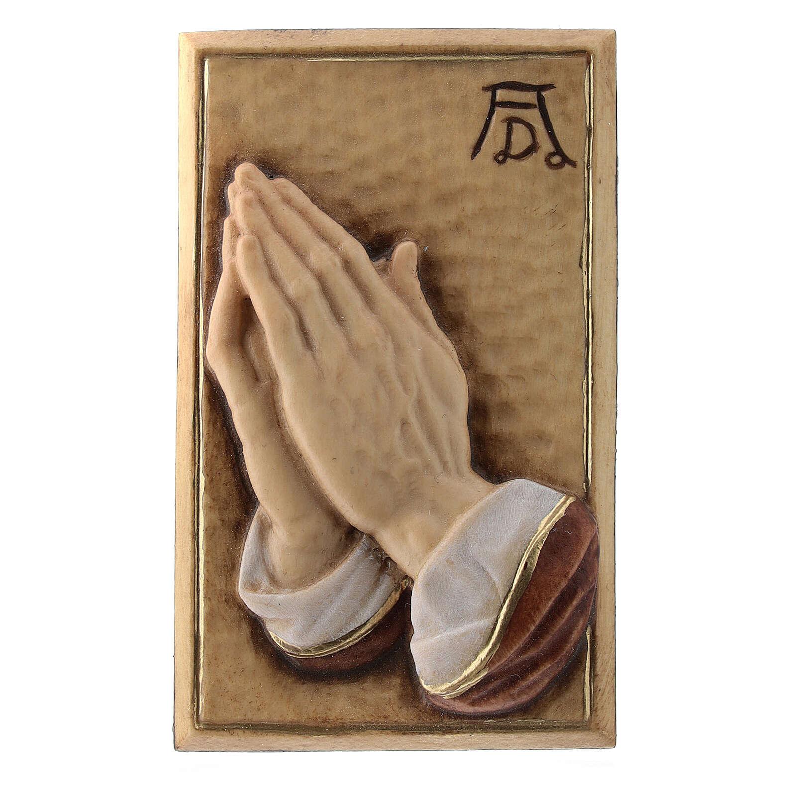 Bassorilievo legno dipinto mani giunte 8 cm 4