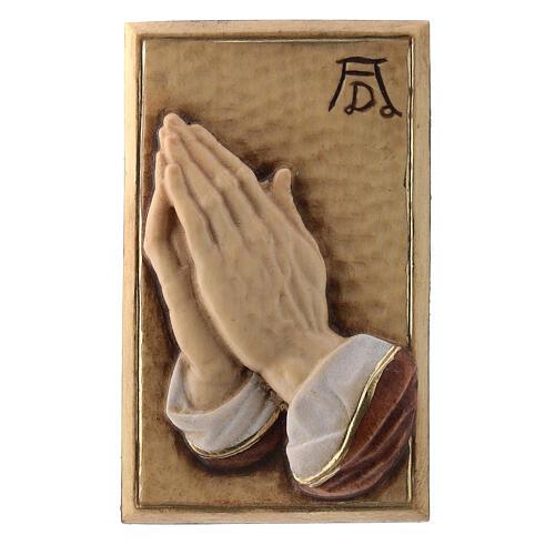Bassorilievo legno dipinto mani giunte 8 cm 1