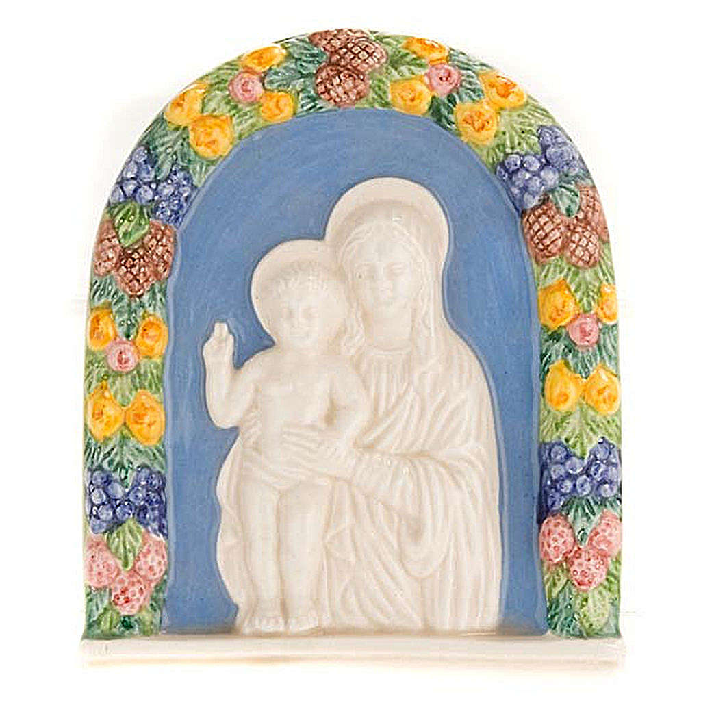 Bajorrelieve cerámica Virgen con niño de pié 4