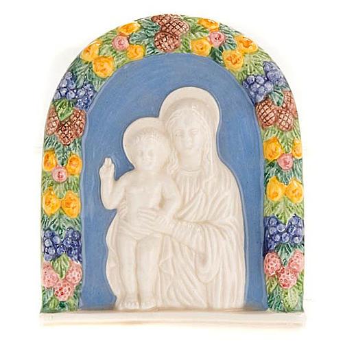 Bajorrelieve cerámica Virgen con niño de pié 1
