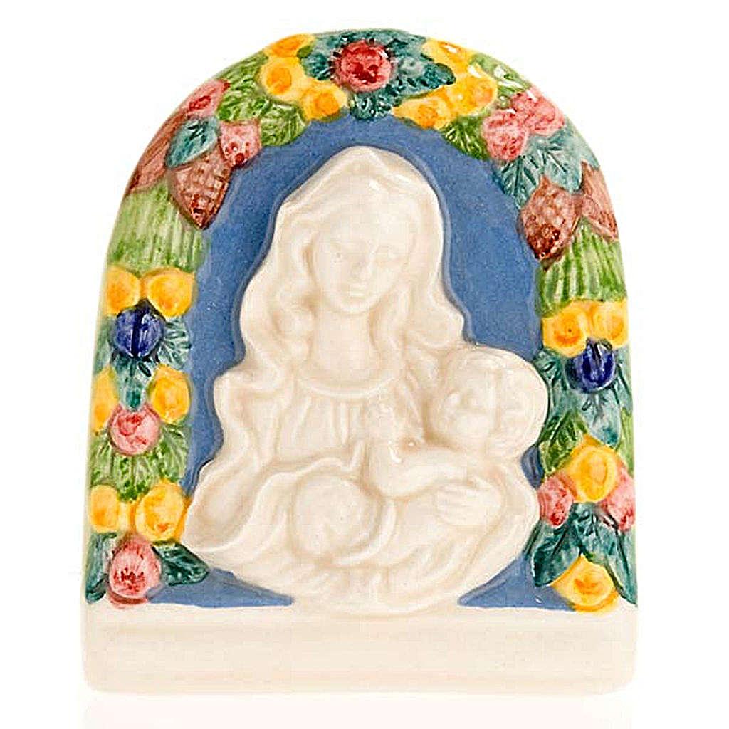 Bajorrelieve cerámica Virgen con niño 4