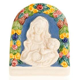 Bassorilievo ceramica Madonna bimbo in braccio s1