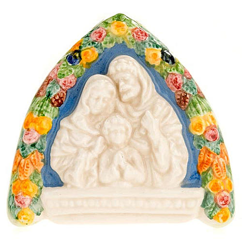 Bassorilievo ceramica triangolare Sacra Famiglia 1