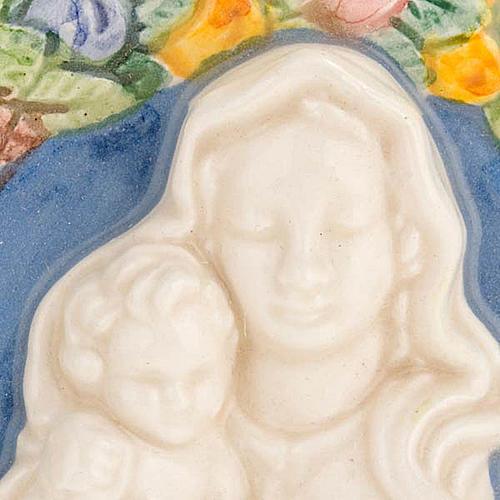 Bas-relief céramique Vierge Marie avec enfant 2