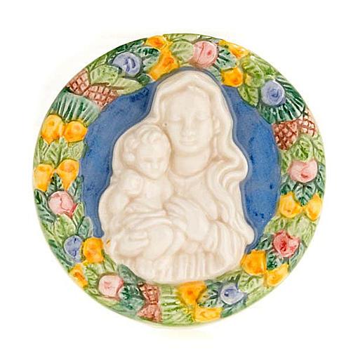 Bassorilievo ceramica tondo Madonna con bambino 1