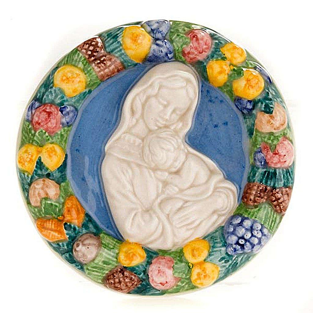 Bajorrelieve cerámica redondo Virgen con niño dorm 4