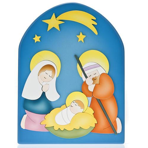 Cadre religieux Nativité bois coloré 1