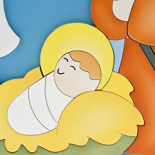 Cadre religieux Nativité bois coloré 2