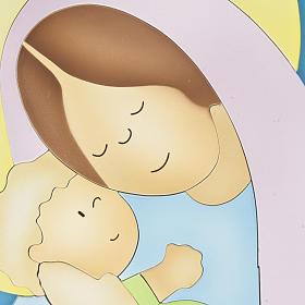 Basrelief-Tafel Madonna mit Kind s2