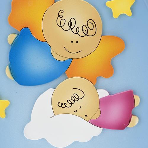 Retablo bajorrelieve ángel con niño dormido oval 2