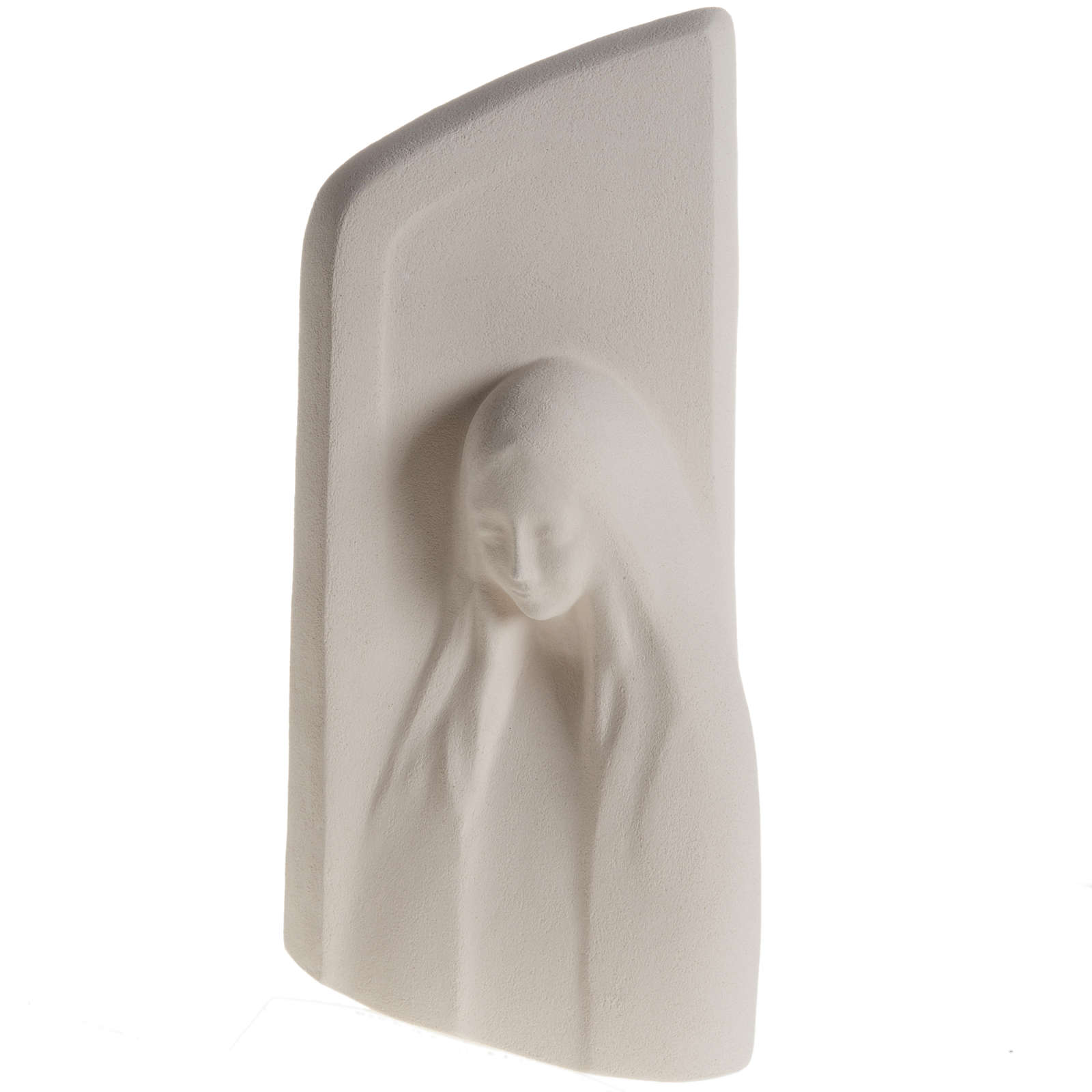 Quadro argilla bianca Madonna dell'Ascolto 31 cm 4