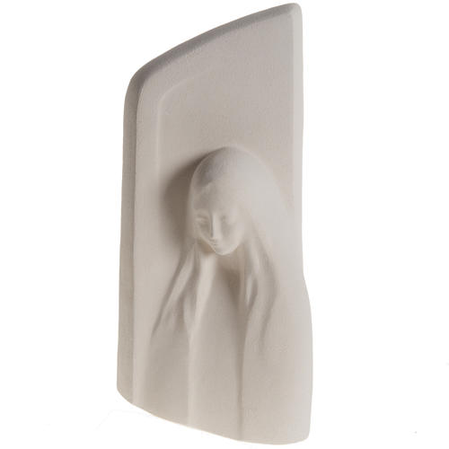 Quadro argilla bianca Madonna dell'Ascolto 31 cm 1