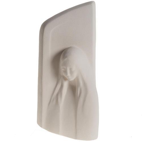 Quadro argila branca Nossa Senhora da Ouvida 31 cm 1