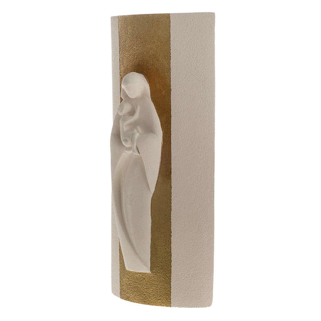 Bas relief Vierge à l'enfant or argile 29.5 cm 4