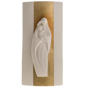 Bas relief Vierge à l'enfant or argile 29.5 cm s1