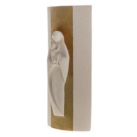 Bas relief Vierge à l'enfant or argile 29.5 cm s4