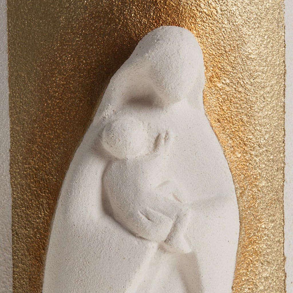 Bassorilievo Maria Gold argilla bianca h 17,5 cm 4