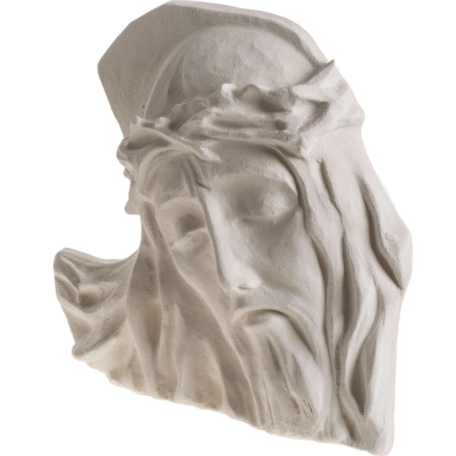 Bas relief Visage de Christ argile blanche 24 cm 4