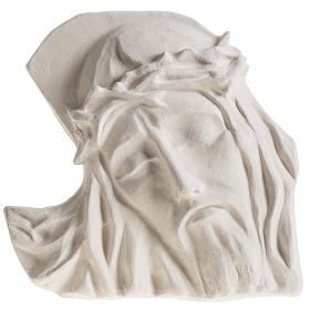 Bas relief Visage de Christ argile blanche 24 cm s1