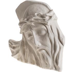 Bas relief Visage de Christ argile blanche 24 cm s3