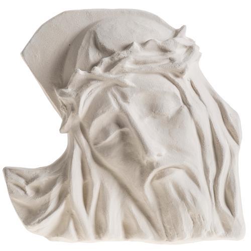 Bas relief Visage de Christ argile blanche 24 cm 1