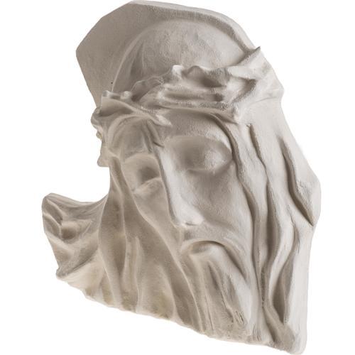 Bas relief Visage de Christ argile blanche 24 cm 3