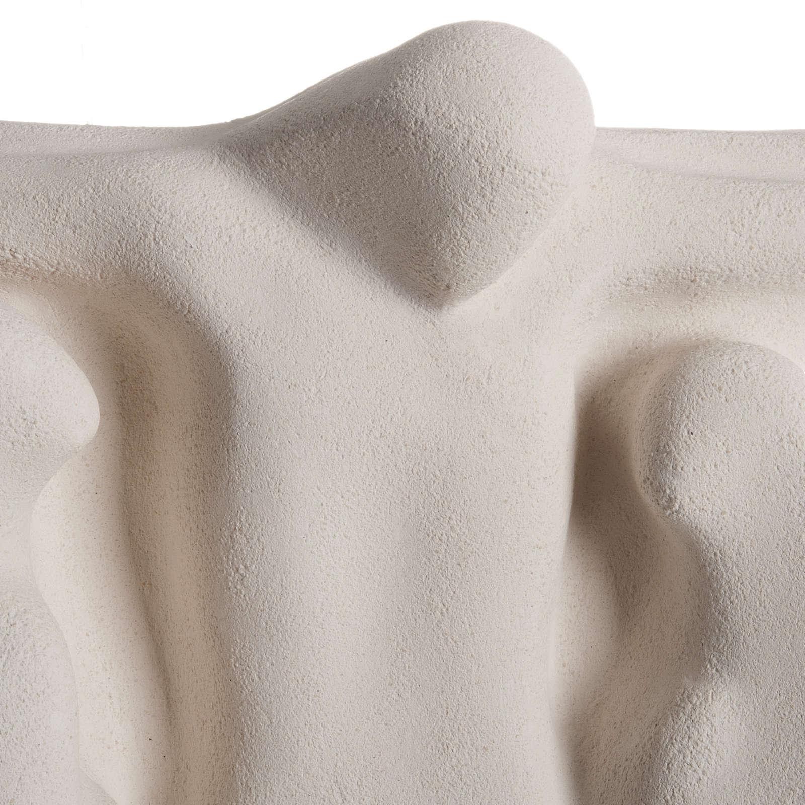 Bas relief Crucifixion argile blanche 40 cm 4