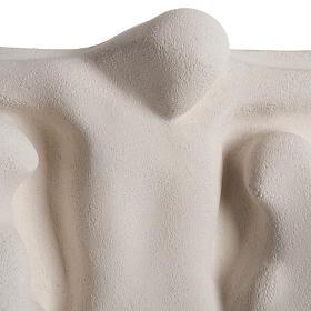 Bassorilievo Crocifissione stilizzata argilla bianca 40 cm s2