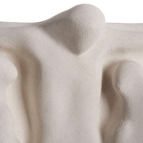 Bassorilievo Crocifissione stilizzata argilla bianca 40 cm 2