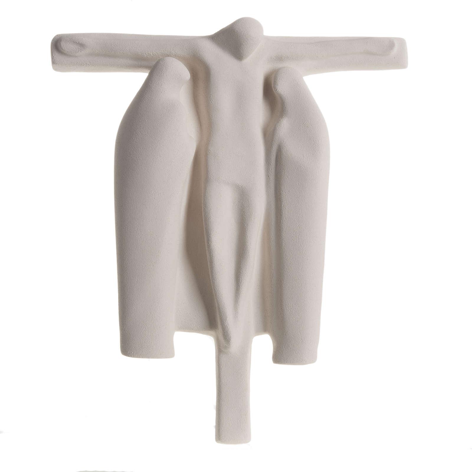 Ukrzyżowanie płaskorzeźba stylizowana szamot biały 4