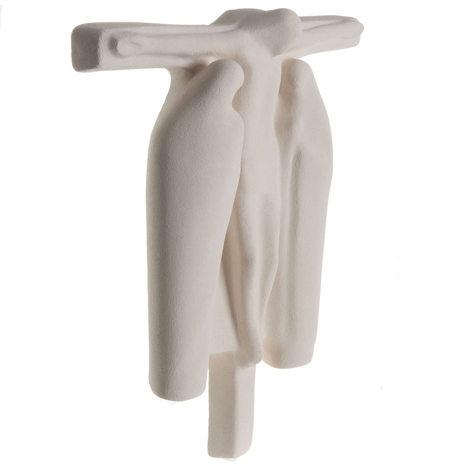 Baixo-relevo Crucificação estilizada argila branca 40 cm 4